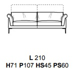 DIVANO 2POSTI E MEZZO L210CM (P107CM H71/96CM)