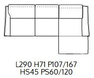 PENISOLA DX L290CM (P167/107CM H71/96CM)