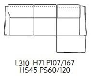 PENISOLA SX L290CM (P167/107CM H71/96CM)